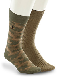 Polo Ralph Lauren® Camo & Olive Socks – 2 Pairs/Pack