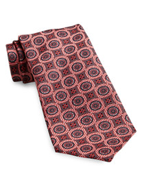 Rochester Made in Italy Textured Medallion Silk Tie
