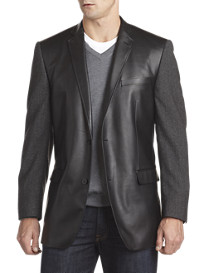 Marc New York Andrew Marc Faux Leather/Wool Tweed Sport Coat