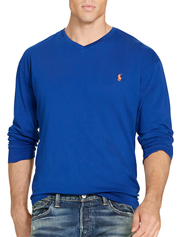 Polo Ralph Lauren® Solid Long-Sleeve V-Neck Tee | Tees