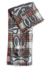 Psycho Bunny® Large Plaid Reversible Wool Scarf