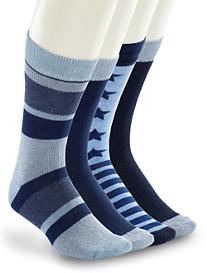 Lucky Brand® Blue Print Crew Socks – 4 Pk.
