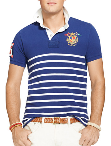 Polo Ralph Lauren® Stripe Yacht Club Mesh Rugby Polo | Available in deep atlantic