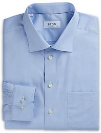 Eton Herringbone-Weave Solid Dress Shirt