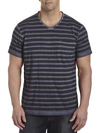 Society of One® Garment-Washed Stripe V-Neck Pocket Tee