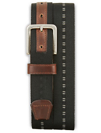 Lejon Leather-Trim Stretch Belt
