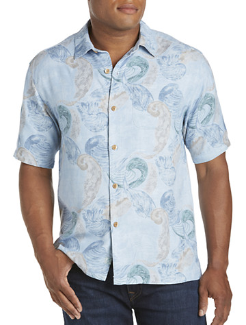 Tommy Bahama® Breaking Waves Silk Camp Shirt - Available in alpine pool