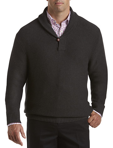 Rochester Novelty-Stitch Shawl-Collar Sweater