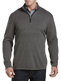 Twenty-Eight Degrees Faux-Leather Trim Quarter-Zip Pullover