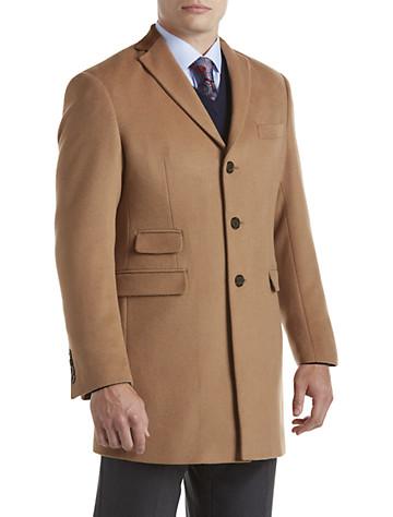 Tallia Orange Camel Herringbone-Texture Overcoat with Velvet Top Collar