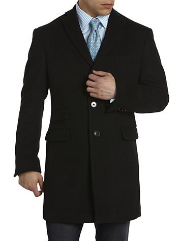 Tallia Orange Black Herringbone-Texture Overcoat with Velvet Top Collar