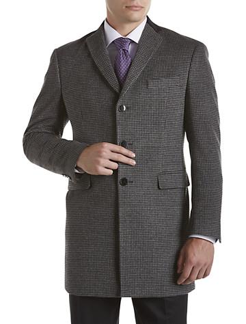 Tallia Orange Black & Grey Houndstooth Overcoat with Velvet Top Collar