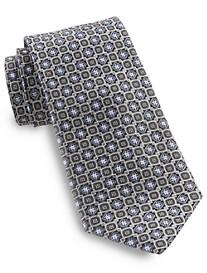 Rochester White-Outlined Medallion Silk Tie