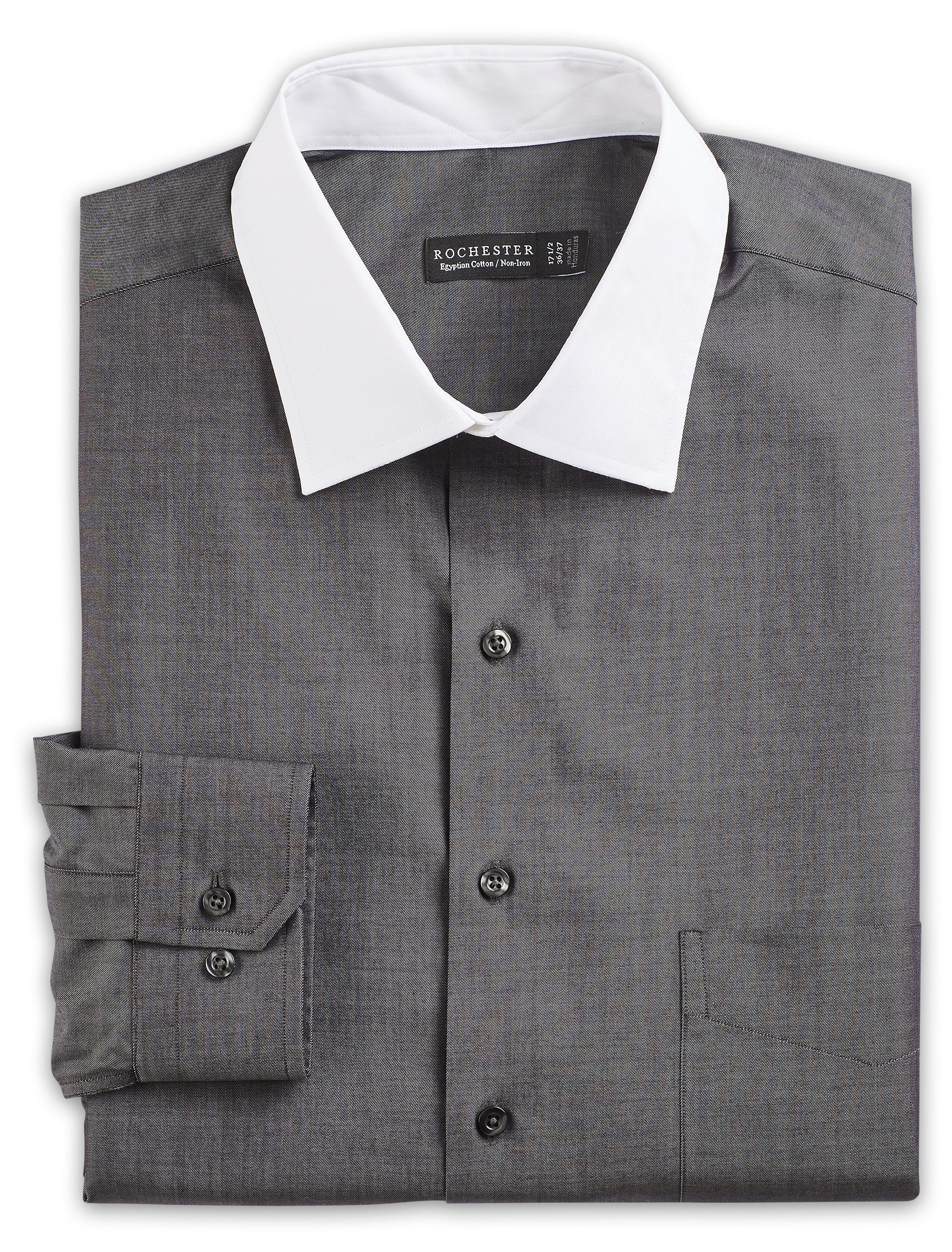 Dress shirt with white collar and cuffs