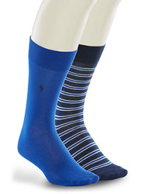 Polo Ralph Lauren® 2-pk Stripe/Solid Socks