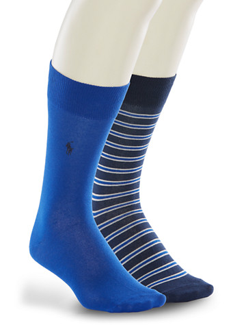 Polo Ralph Lauren® 2-pk Stripe/Solid Socks