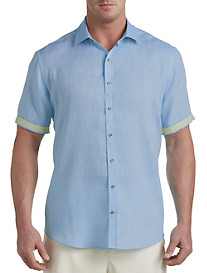 Rochester Linen Sport Shirt with Contrast Trim