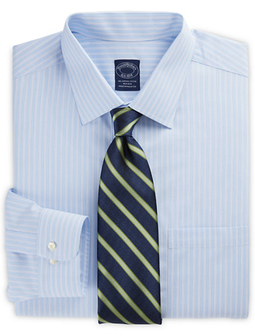 Brooks Brothers® Non-Iron Hairline-Stripe Dress Shirt (blue)