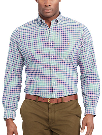 Polo Ralph Lauren® Plaid Oxford Sport Shirt (navy pink multi)