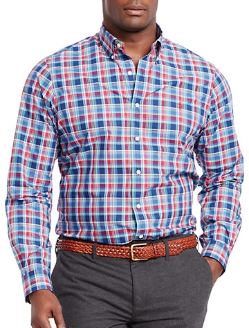Polo Ralph Lauren® Plaid Poplin Sport Shirt (brick_red_navy) -  On Sale!