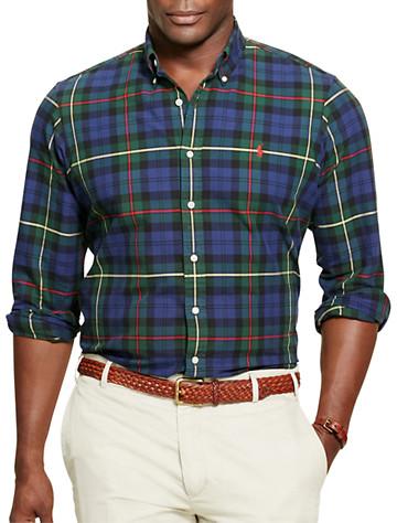 Polo Ralph Lauren® Tartan Plaid Oxford Sport Shirt (navy/green) -  On Sale!