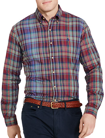 Polo Ralph Lauren® Plaid Twill Sport Shirt (blue wine) -  On Sale!