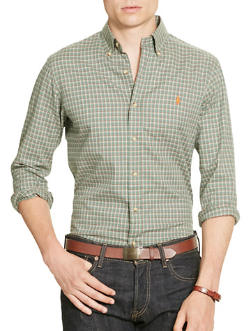 Polo Ralph Lauren® Plaid Twill Sport Shirt (green cream) -  On Sale!