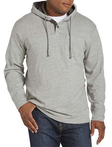 Lucky Brand® Heathered Henley Hoodie - ( Long Sleeve Knits )