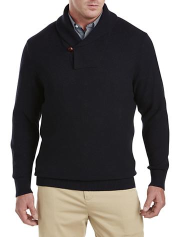 Rochester Popcorn-Stitch Shawl-Collar Sweater