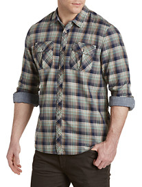 Buffalo David Bitton® Sampir Herringbone Plaid Sport Shirt