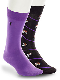 Polo Ralph Lauren® 2-pk Bulldog Bias Stripe/Solid Socks