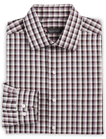 Rochester Non-Iron Check Dress Shirt (burgundy grey) - $89.5