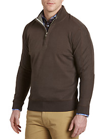 Robert Talbott Sueded Pima Cotton Half-Zip Pullover