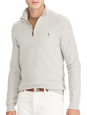 Polo Ralph Lauren® Textured Cotton Half-Zip Sweater