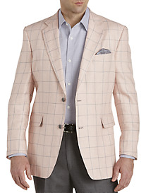 Tallia Orange Windowpane Linen Sport Coat