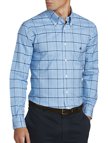 Brooks Brothers® Non-Iron Windowpane Oxford Sport Shirt (blue) -  On Sale!