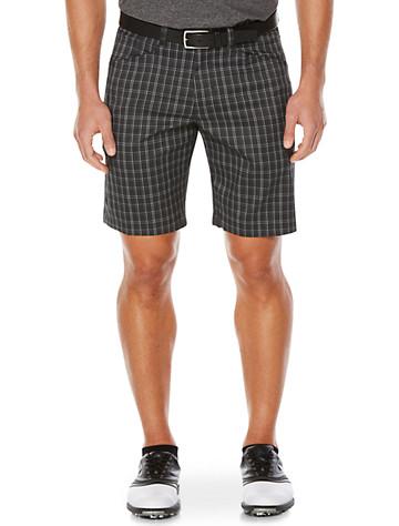 Callaway® Plaid Flat-Front Shorts (black) - $85.00
