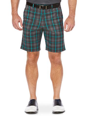 Callaway® Plaid Flat-Front Shorts (grey) - $85.00