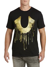 True Religion Metallic Gold Horseshoe Graphic Tee