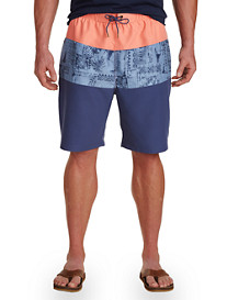 Rochester Pattern Colorblock Swim Trunks