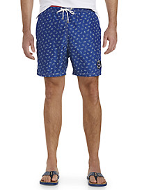 Paul & Shark® Shark-Print Swim Trunks