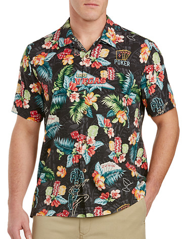 Tommy Bahama® Poker Days Silk Camp Shirt - Available in jet black
