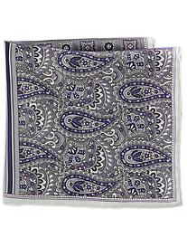 Rochester Stripe Paisley Multi Silk Pocket Square