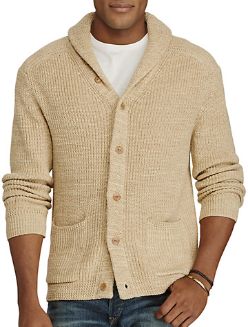 Polo Ralph Lauren® Cotton/Linen Shawl-Collar Cardigan