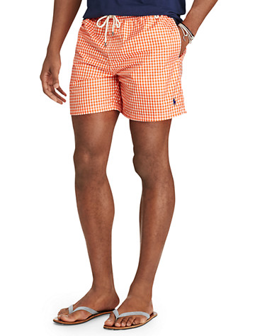 Polo Ralph Lauren® Traveler Gingham Swim Shorts - Available in active orange
