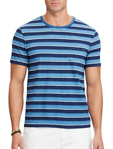 Polo Ralph Lauren® Yarn-Dyed Cotton Slub T-Shirt - Available in light indigo multi