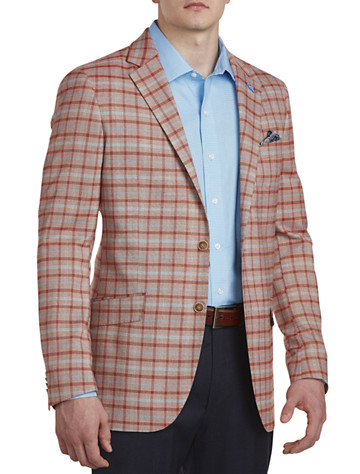 TailorByrd Plaid Sport Coat (red) -  On Sale!