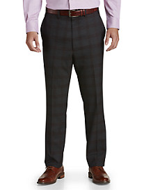Tallia Orange Plaid Flat-Front Suit Pants