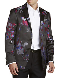 Tallia Orange Abstract Floral Sport Coat