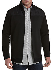 Twenty-Eight Degrees Full-Zip Herringbone Knit Jacket with Nylon Trim